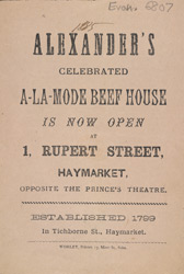 Advert For Alexander's A-La-Mode Beef House